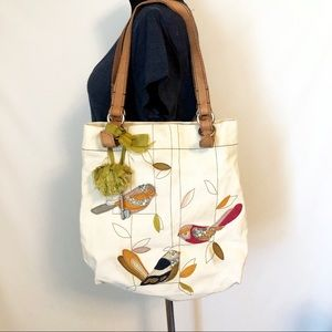 JUST IN Fossil Heavy Canvas Birds Tote Bag